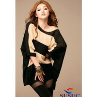 Buy Cheap Winter Striped Bat sleeve round collar chiffon shirt From China