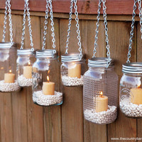 Hanging Mason Jar Garden Lights - DIY Lids Set of 6 Mason Jar Lantern Hangers or Flower Vase Hangers - Silver Chain - Regular Mouth Style