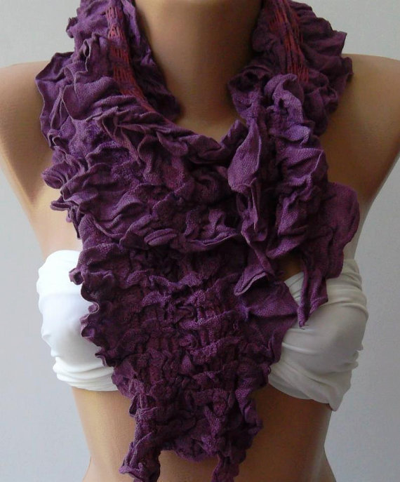 Purple  -- Elegance Shawl -- Scarf with Lace Edge---