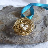 Brass Nest Pendant: A Cute Birds Ne.. on Luulla