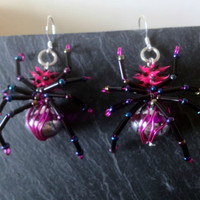  SPikY PiNk sPiDEr eArRinGs  KiTsCh  GoTH  pUnK JeWeLLeRy  HaNdCRaFted 
