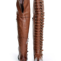 Luichiny True Fit Cognac Brown Leather Belts Galore OTK Boots - $179.00