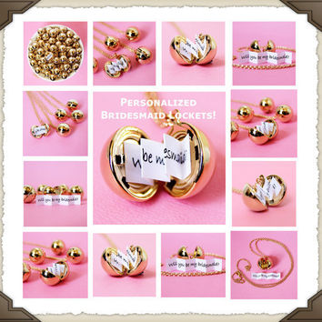 Secret Message Lockets - Bridesmaid Special - 10 Shiny Gold Vintage Brass Ball Locket Necklaces - Customized and Personalized for you
