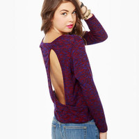 Cute Purple Sweater - Cutout Sweater - Backless Sweater - $35.00
