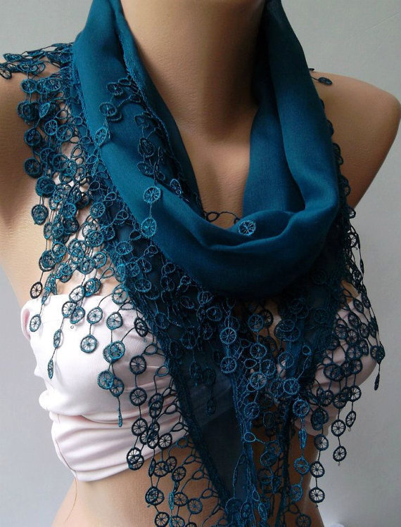 ON SALE / Turquoise Blue - Cotton/ Traditional Turkish fabric -Anatolian Shawl/Scarf.