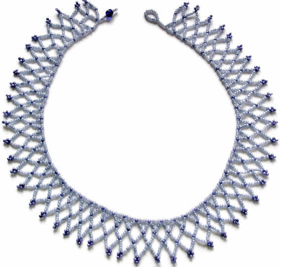 Blue bead stitched  Netted Collar style Necklace