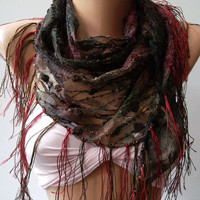 Burgundy - Green  / lace and Elegance Shawl / Scarf - with Lace Edge