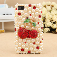 Free Shipping New Design Red Alloy Crystal Cherry  kawaii deco den for HTC Case, iPhone4 Case and others