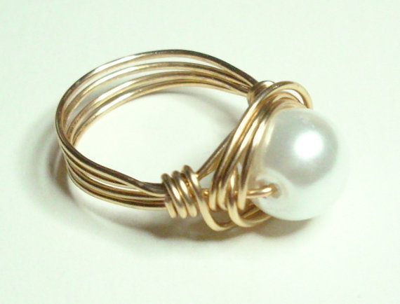 White Pearl and Gold Wire Wrapped Ring