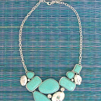 Cheyenne Turquoise Necklace with Diamond Accents -  $29.00 | Daily Chic Accessories | International Shipping