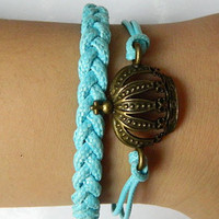 Bracelet --- retro Crown Ocean Blue rope woven bracelet adjustable
