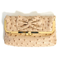 Kiss Lock Clutch: Beige Bow - $26.99 : Spotted Moth, Chic and sweet clothing and accessories for women