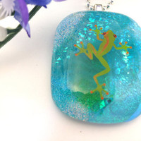 Fused Dichroic Glass Necklace Pendant Frog on Blue Water  Statement Jewelry  043
