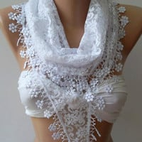 White / Elegance  Shawl / Scarf with Lacy Edge..