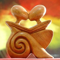 Novica &#x27;Loving Embrace&#x27; Wood Statuette