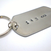Handstamped Dog Tag Key Chain - Stainless Steel - 143 Infinity - READY TO SHIP