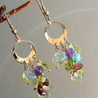 Peridot, Lemon Quartz, Blue Topaz, Apatite, Amethyst, and Garnet Gold Hoop Earrings