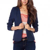 Martine Open Blazer in Navy - ShopSosie.com
