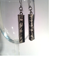 Charcoal Hangeul Hanji Paper Earrings OOAK Patchwork Korean Characters Asian Hypoallergenic hooks Lightweight Dangle Earrings