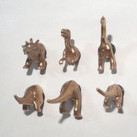 Gold Metallic Dinosaur Heads and Butts Magnets - set of 6