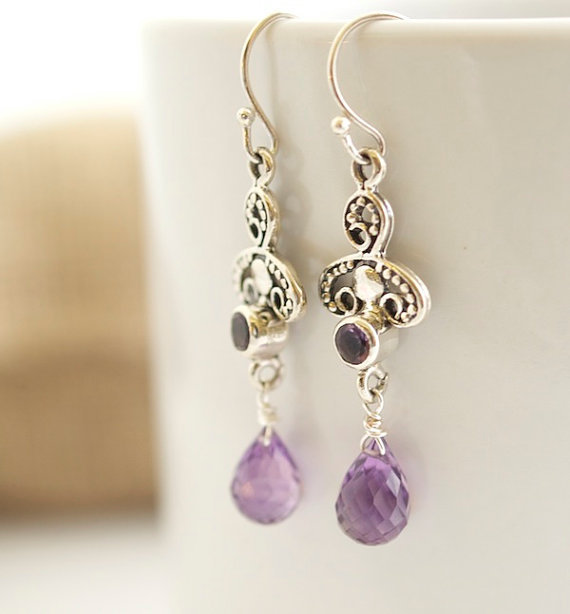 Amethyst Earrings - Sterling Silver Earrings - Bezel Set Earrings