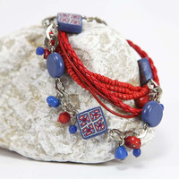 Sailor Bracelet - Beaded Handmade Jewelry - Leather Seed Bead Bracelet - Bead Wrap Bracelets - Blue Red White Bracelet - Beach Bracelets