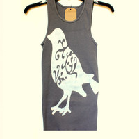 Brid Tank- Handpainted Tank Top- Navy Blue- Size Small