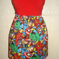 Avengers Mini Skirt with Hulk, Captain America, Thor, Spiderman, Iron Man, Wolverine-  High Waisted Ladies - Handmade