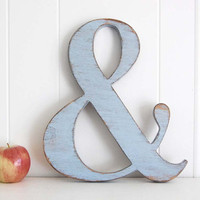 Ampersand wedding sign Wooden Shabby Chic sign Photo prop wood sign Soft Blue