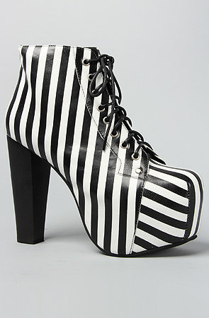 The Lita Shoe in Black and White Stripe