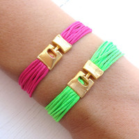 Neon friendship string bracelets, friendship bracelets, neon bracelets, neon jewelry, orange, lime green, yellow, best friends, pink,