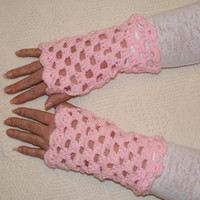 Crocheted Pink Lacy Fingerless Gloves  Wristwarmers, Mittens, Mitts,