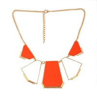 Fashion Orange Blocking Bib Necklace at Online Jewelry Store  Gofavor