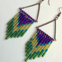 Peacock Chevron Earrings