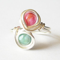 Gemstone Infinity Ring Size 7.5 Turquoise and Pink Jasper Silver Wire