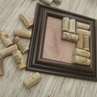 Wine Cork Coaster Craft  - DIY LARGE dark brown on reclaimed wood - pitcher or vase coaster size - new style