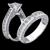 Engagement Rings -  3.68 ctw. 14K Gold Diamond Engagement Ring Set