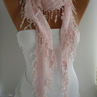 Pink  Shawl and Scarf  Headband  Cowl with Lace Edge -Summer Trends