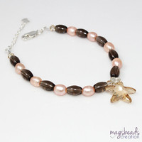 Peach Pearls Beaded Bracelet with Smoky Quartz, Peach and Brown, Starfish Crystal Pendant, Beach, Handmade Jewelry