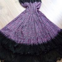 Purple -Black - Maxi Skirt - Tulle, chiffon and lace combinatio.  Dress - Very chic skirt......S - M
