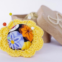 Flower Ring Pincushion Yellow Lace cotton