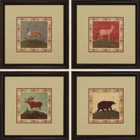 Paragon Bear, Moose, Deer, and Elk Wildlife Set of Four Framed Print - Kimble - 1170