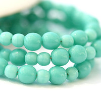 Czech beads, glass beads mix Turquoise green - round spacers, druk, small - 4-3mm - approx.100Pc - 0307