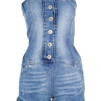 Mid Blue Strapless Denim Playsuit - Clothing - desireclothing.co.uk