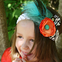 Zebra headband with peacock feather for young girls. Perfect Photo Prop