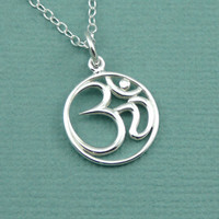 Script Om Necklace , sterling silver om , yoga jewelry , sanskrit