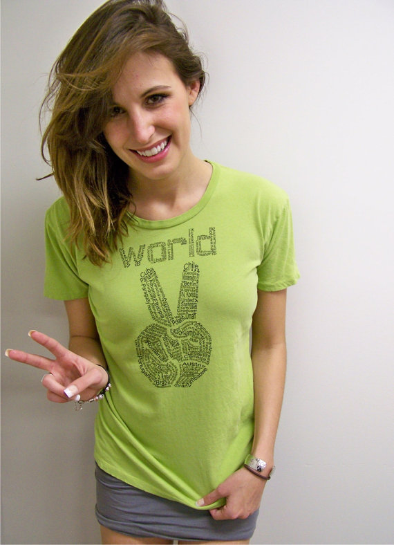 Womens tshirt - World Peace Alternative Apparel t shirt