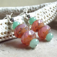 Pink & Mint Green Earrings:  Aventurine, Peach Rose Glass Beaded Dangle Summer Fashion Jewelry