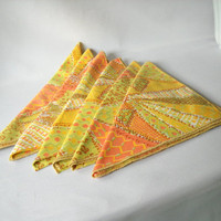 Vintage Cotton Napkins Linen Napkins Retro 1970s Summer Dining Abstract Design Butterfly Flower Floral