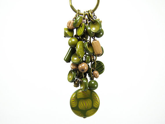 Magic Forest Dark Green Keychain / Bag Accessories - Bag Ring - Keychain Charms - Green Keychain - Unique Beaded Keychains